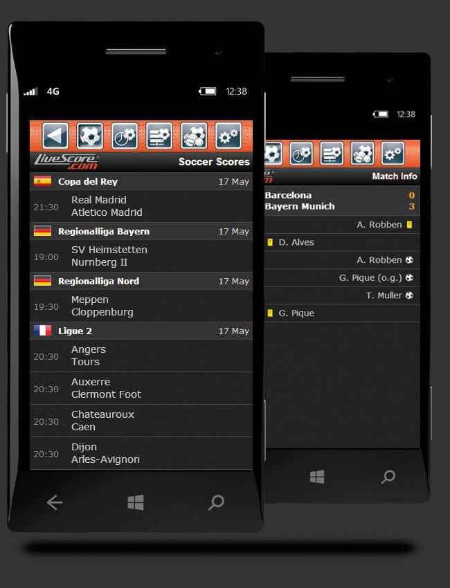 livescore mobile football