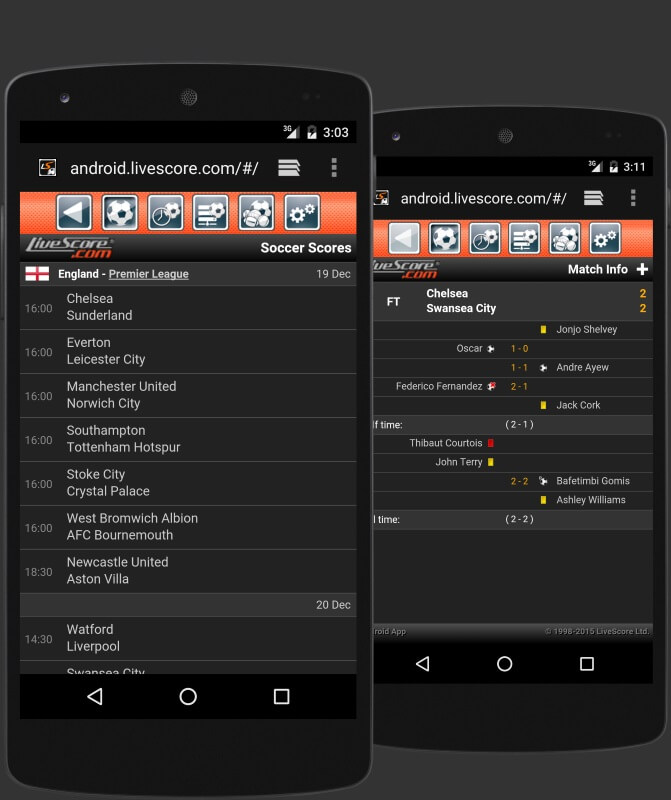 livescore com mobile version